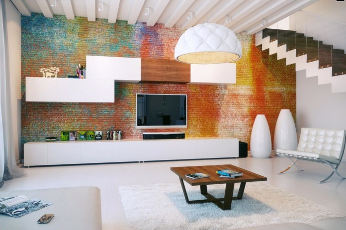 Living Room With Exposed Brick Wall (1)