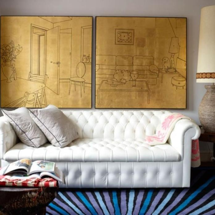 Mid Century Living Room With Monochromatic Multi Canvas