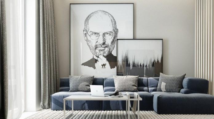 Modern Living Room With Steve Jobs Artwork