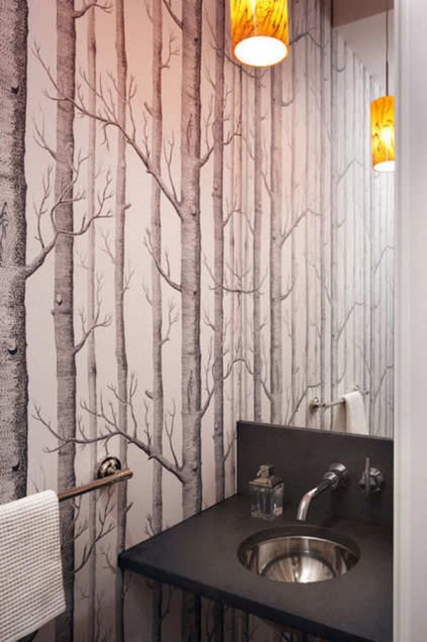 Pattern Wallpaper Bathroom