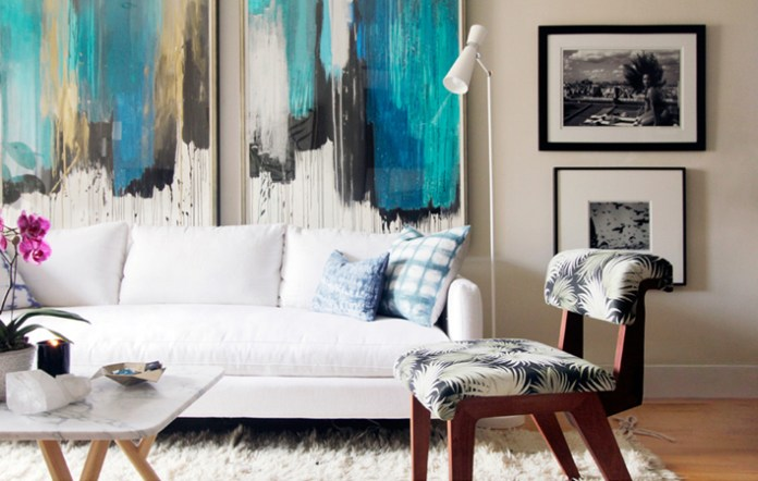 Serene Living Room With Abstract Artwork