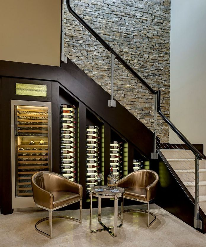 under stairs built in wine cellar with cooler
