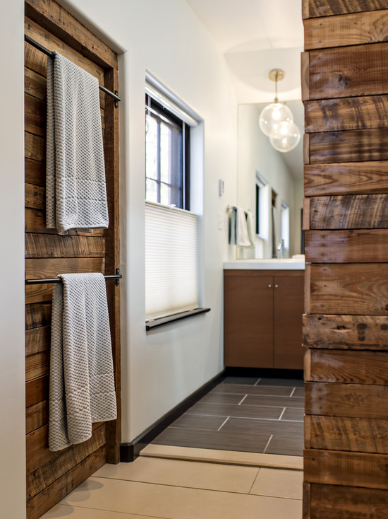 Eclectic Bathroom Design Wood Accent