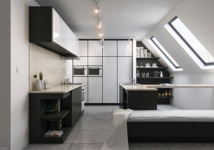Attic Black and White Kitchen Design