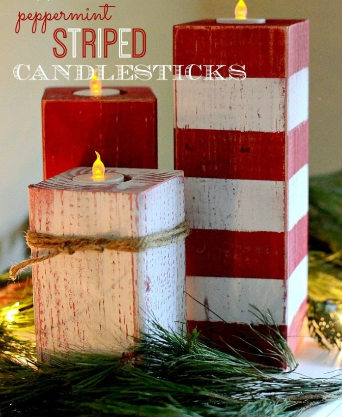 Christmas Peppermint Striped Candlesticks
