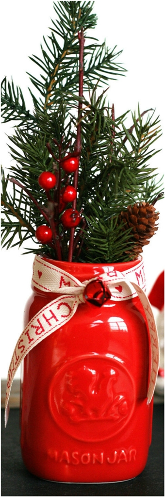 Vintage Look Scented Christmas Mason Jar with Pinecone Branch