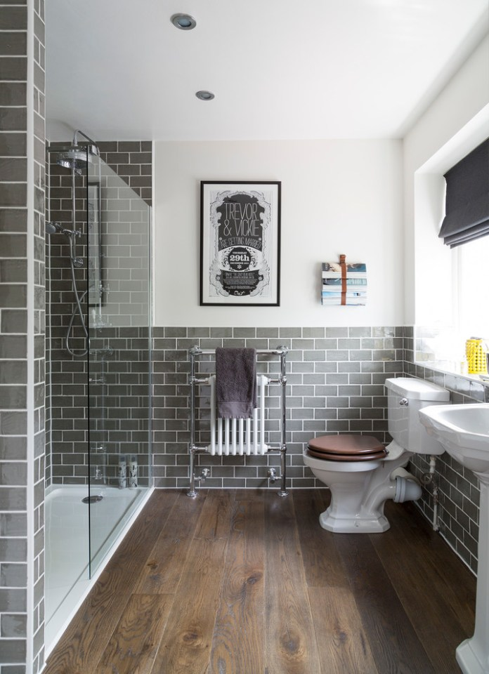 Grey Subway Tiled Traditional Bathroom