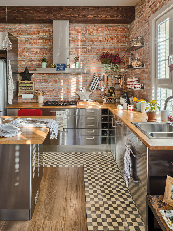 Industrial Kitchen With Exposed Brick Wall Dwellingdecor