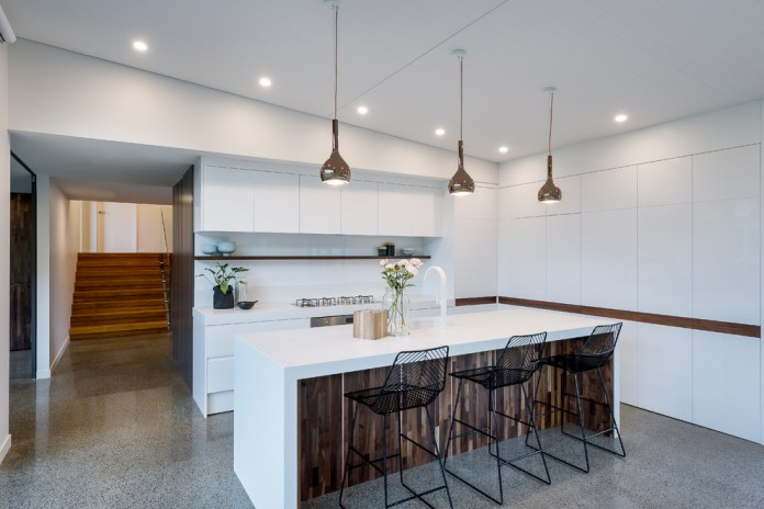 Minimalist Modern Galley Gray Floor Kitchen