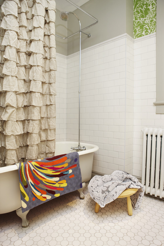 Scandinavian Small Bathroom With Anchor Shower Curtain