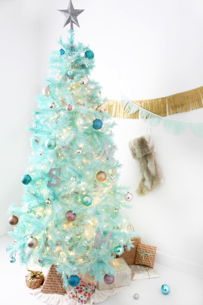 DIY mint green Spray Painted Christmas tree dwellingdecor