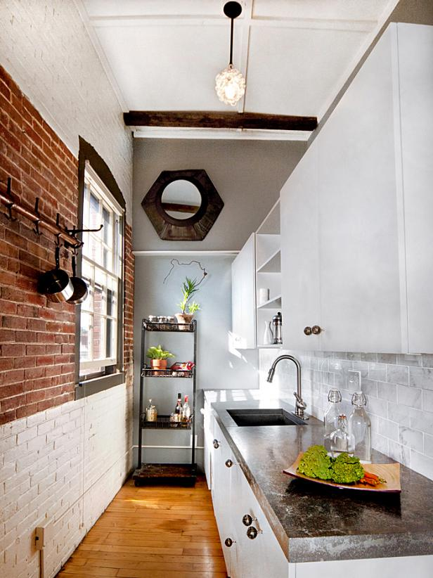 Small Narrow Kitchen With Exposed Brick Walls Dwellingdecor