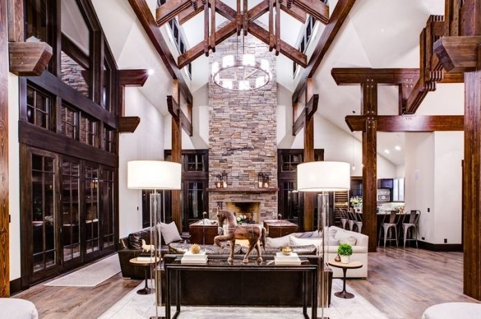 Bright Expansive Rustic Living Room Design