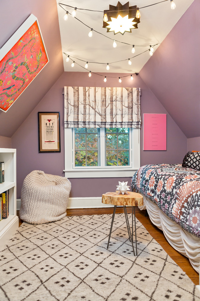 Eclectic Teen bedroom made to look like a tree house dwellingdecor
