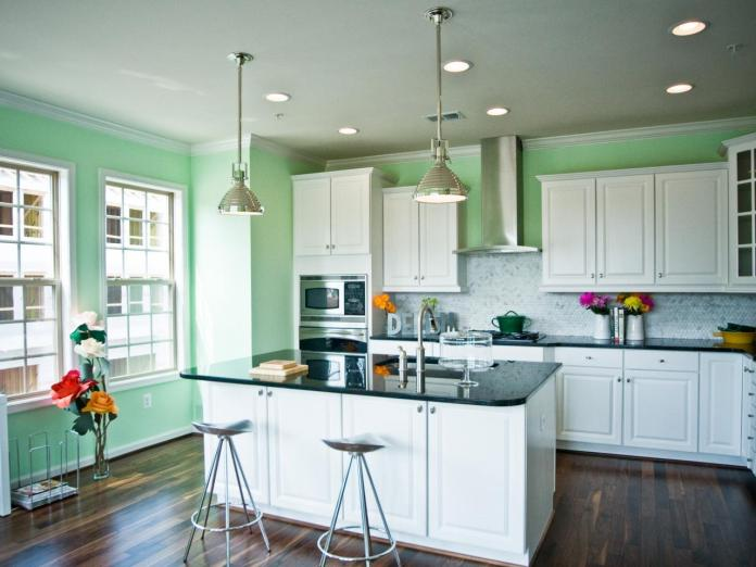 Pale Green Contemporary Kitchen With Large Island dwellingdecor