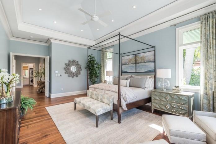Beach Style Wood Toned Floor Bedroom Dwellingdecor