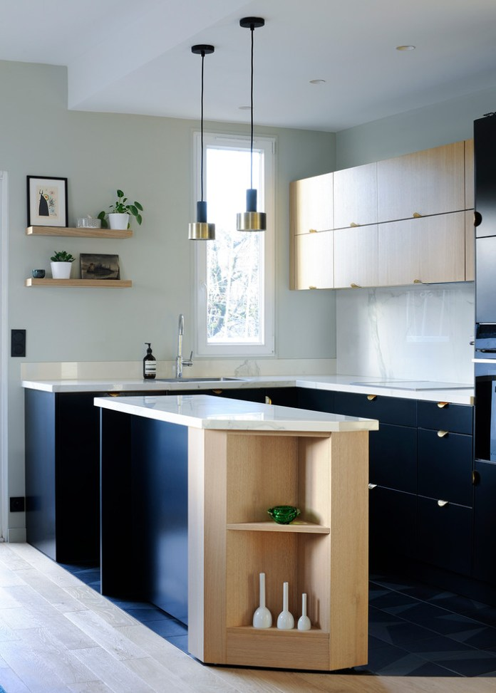 Contemporary L-shaped Black Floor Kitchen