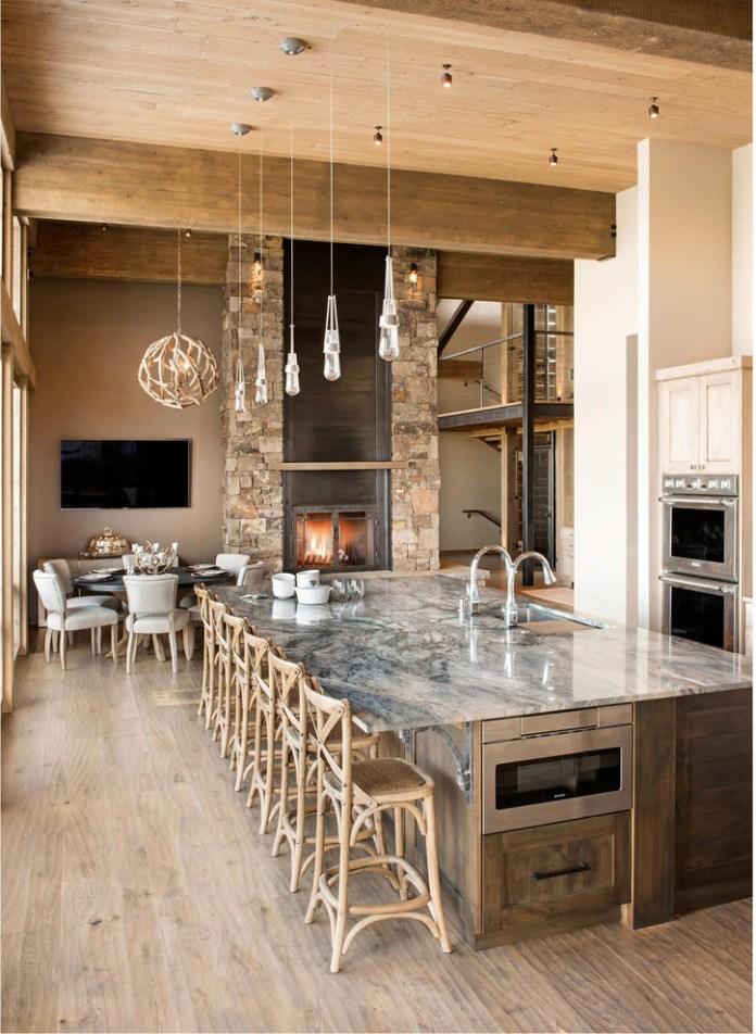 Mountain Style Single-wall Beige Floor Eat-in Kitchen