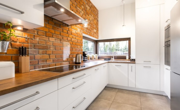 Rustic Style Brick Stone And Reclaimed Wood Kitchen