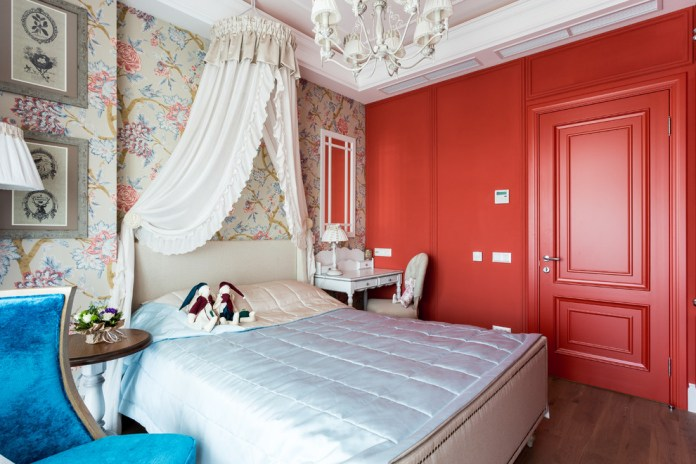 Transitional Bedroom With Red Wall Dwellingdecor