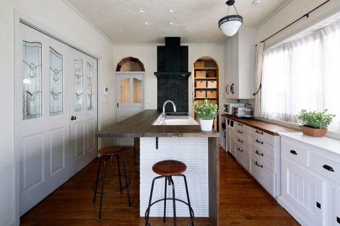 Victorian Galley Medium Tone Wood Floor Kitchen