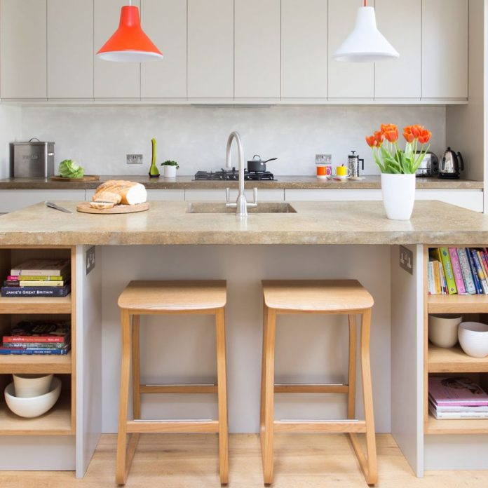 Neutral Modern Kitchen With Curved Top Oak Stool Dwellingdecor