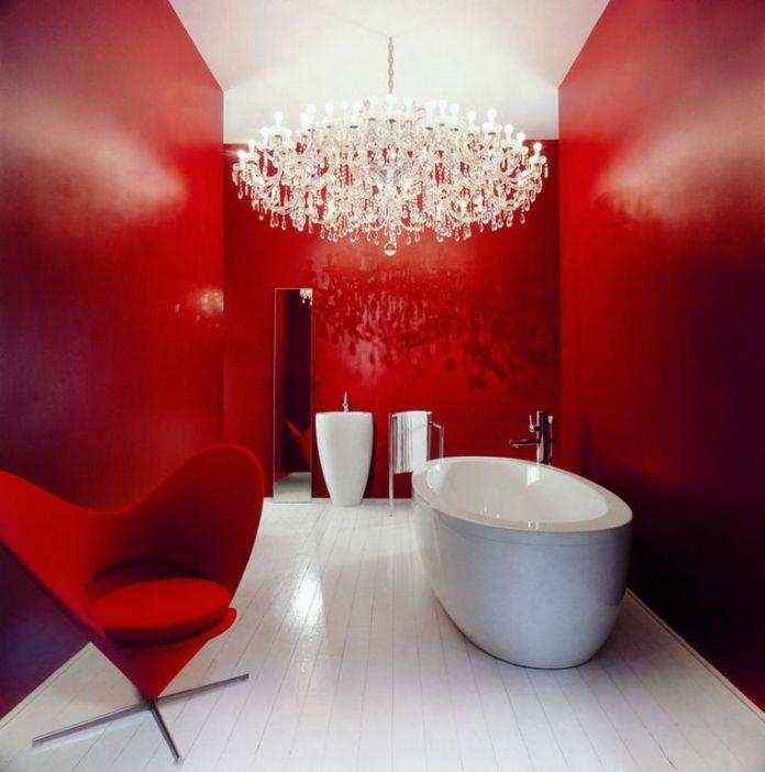 Contemporary Master Bathroom with Chandelier Dwellingdecor