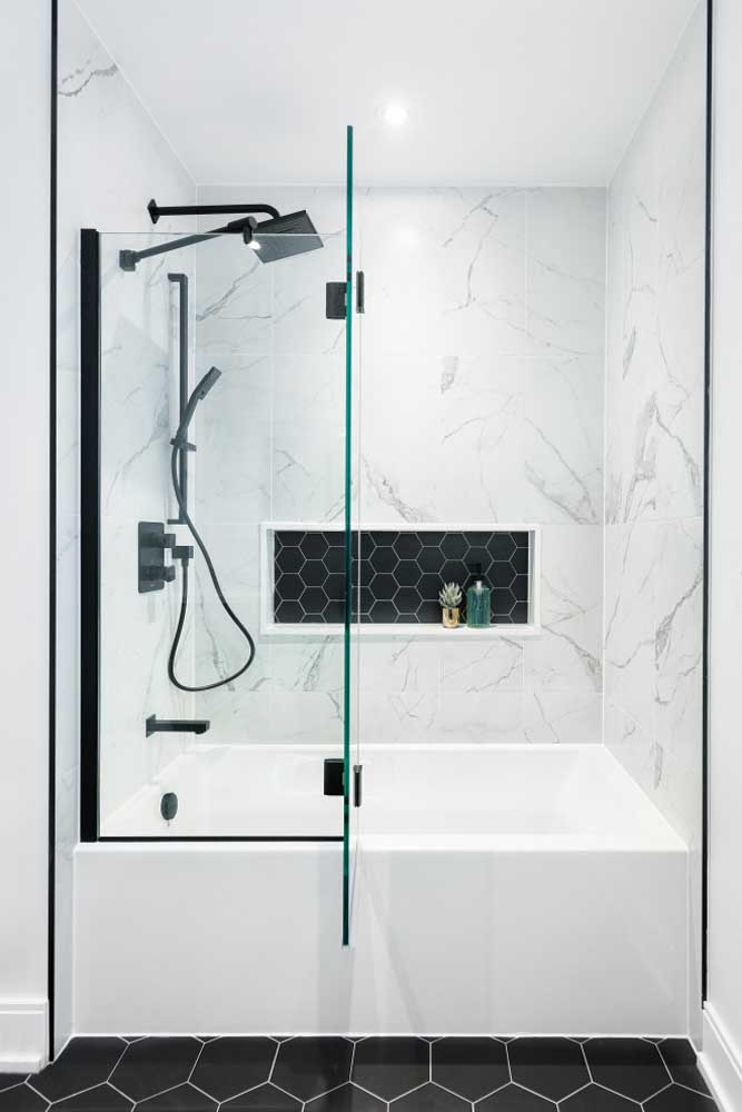 Clean and modern, this bathroom brought the bathtub close to the shower and the shower.