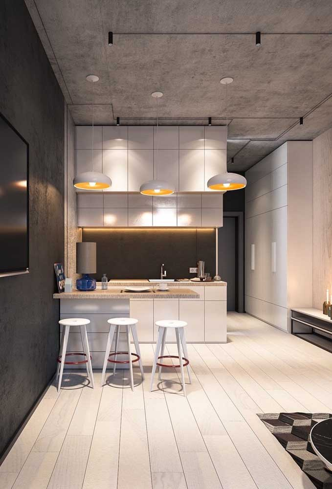 38. Small integrated American kitchen with an industrial-style influence.