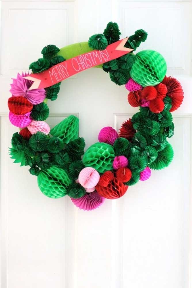 17. Paper ornaments decorate this different Christmas wreath.