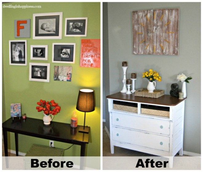 Such a dramatic makeover! A dresser turned into a rustic entryway table, using baskets and Decoart's Americana Chalky Finish paint!   Dwelling in Happiness #furniture #dresser #redo #chalkpaint