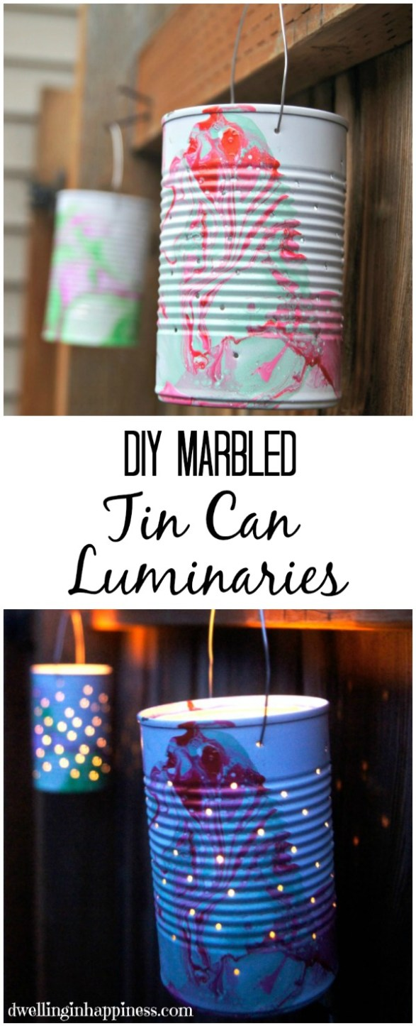 Cute DIY Marbled Tin-Can Luminaries, perfect for summer BBQ's! From Dwelling in Happiness