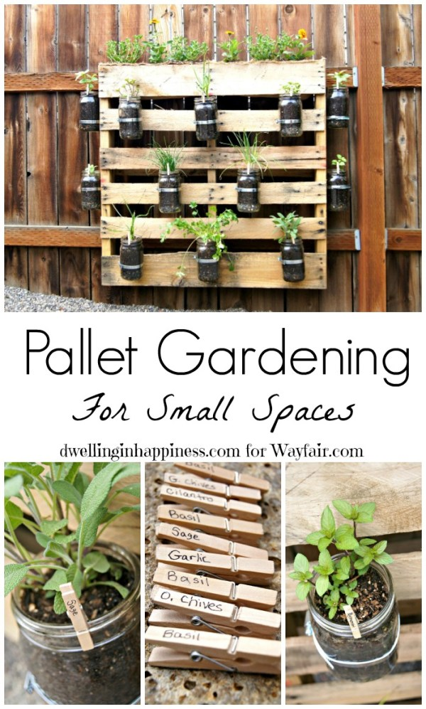 Pallet Gardening for Small Spaces. Cute pallet herb garden from Dwelling in Happiness!