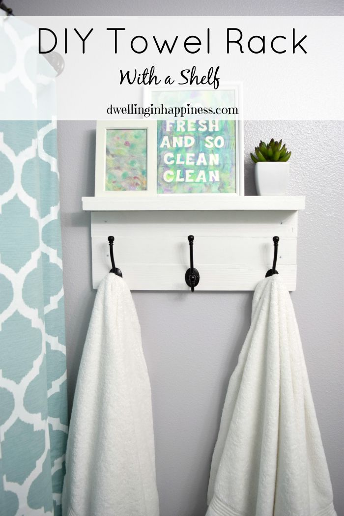 diy towel rack with a shelf dwelling in happiness. Black Bedroom Furniture Sets. Home Design Ideas