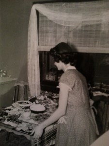 Mom preparing dinner in the upper duplex on Humboldt