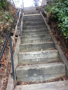 The old stairs were made out of railroad ties and repaired by Otto Sunderland and Mike Wenzler
