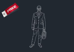 Business man dwg cad block free fownload