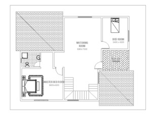 Double Story Small House Plan - frist floor