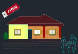 three bed room Single story house plan
