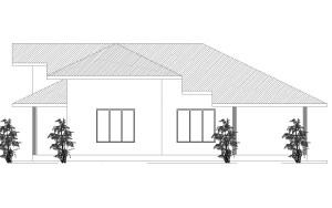 Single story three bedroom house plan lelevation free download