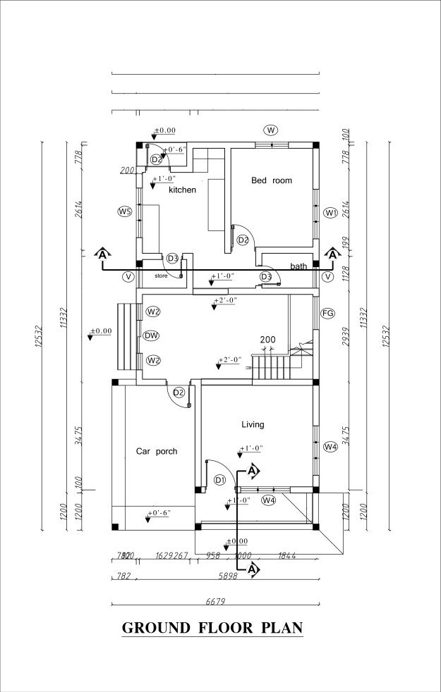Ground floor plan of double story house