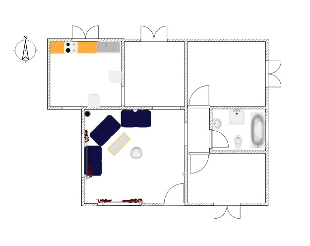 Two bed room 3D house plan with elevation - free download from dwg net.com