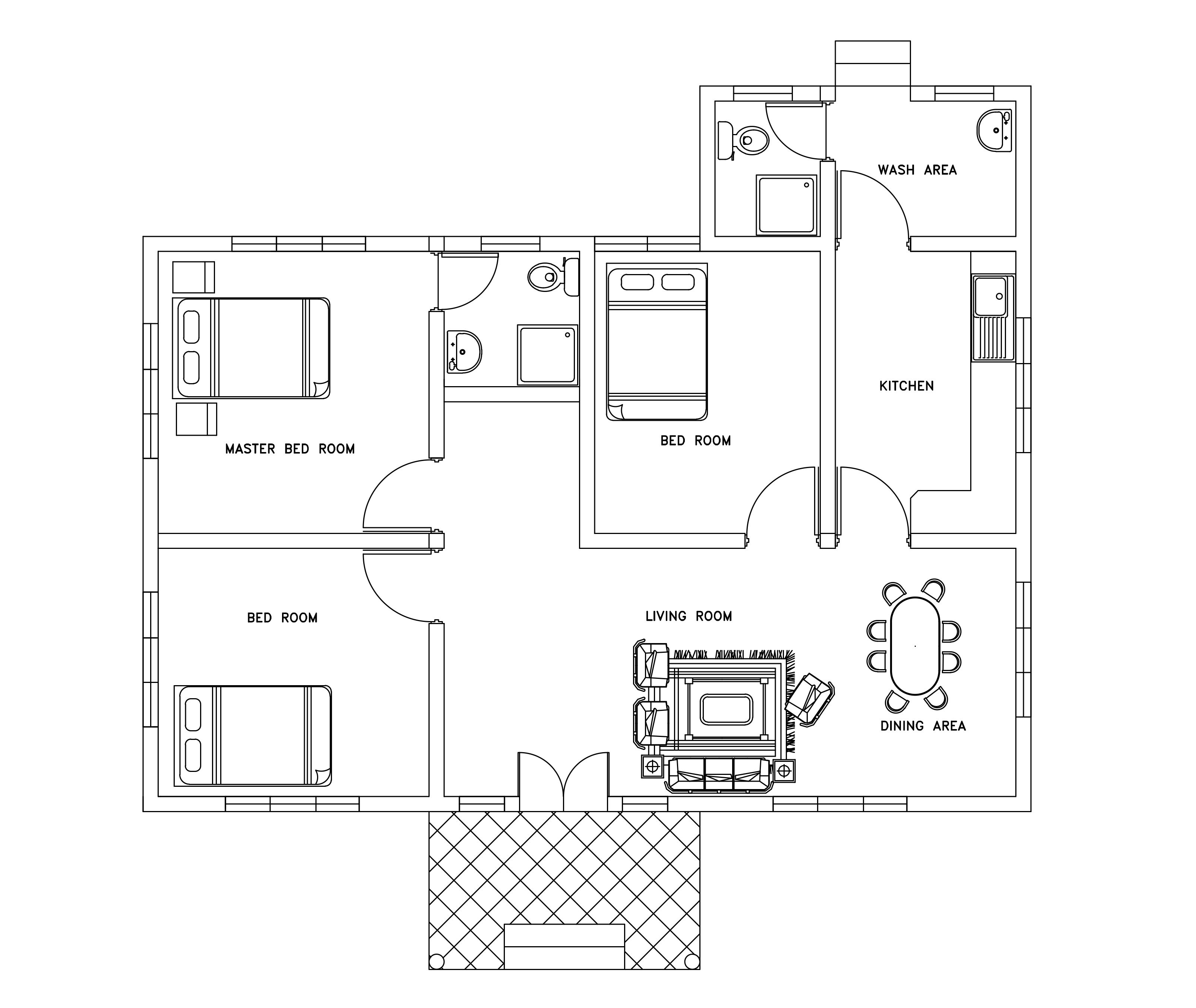 Single story three bed room small house plan free download with dwg ...