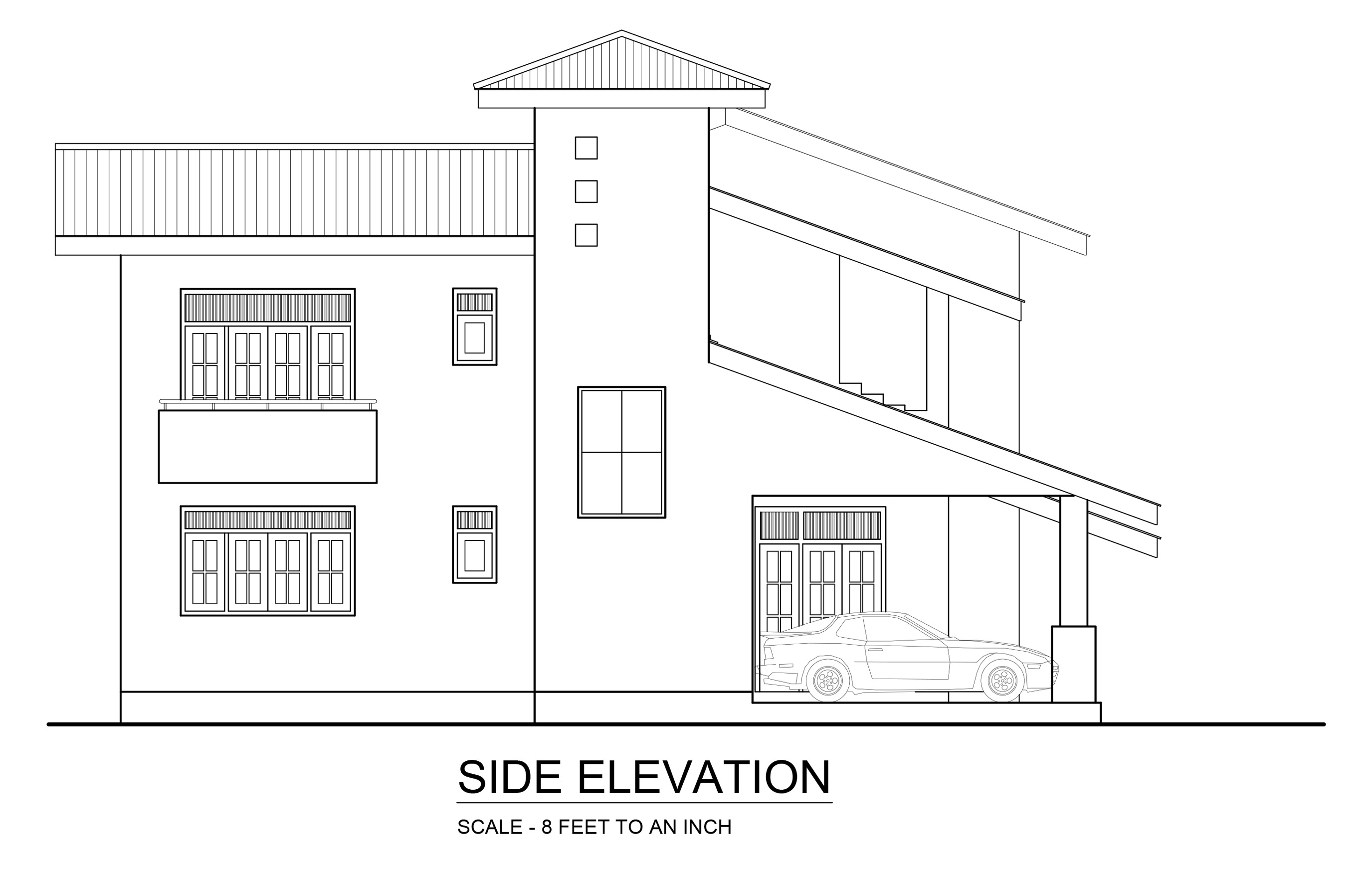 side elevation - DWG NET   Cad Blocks and House Plans on house elevation blueprint, house floor plan and elevation, house side elevation plan,