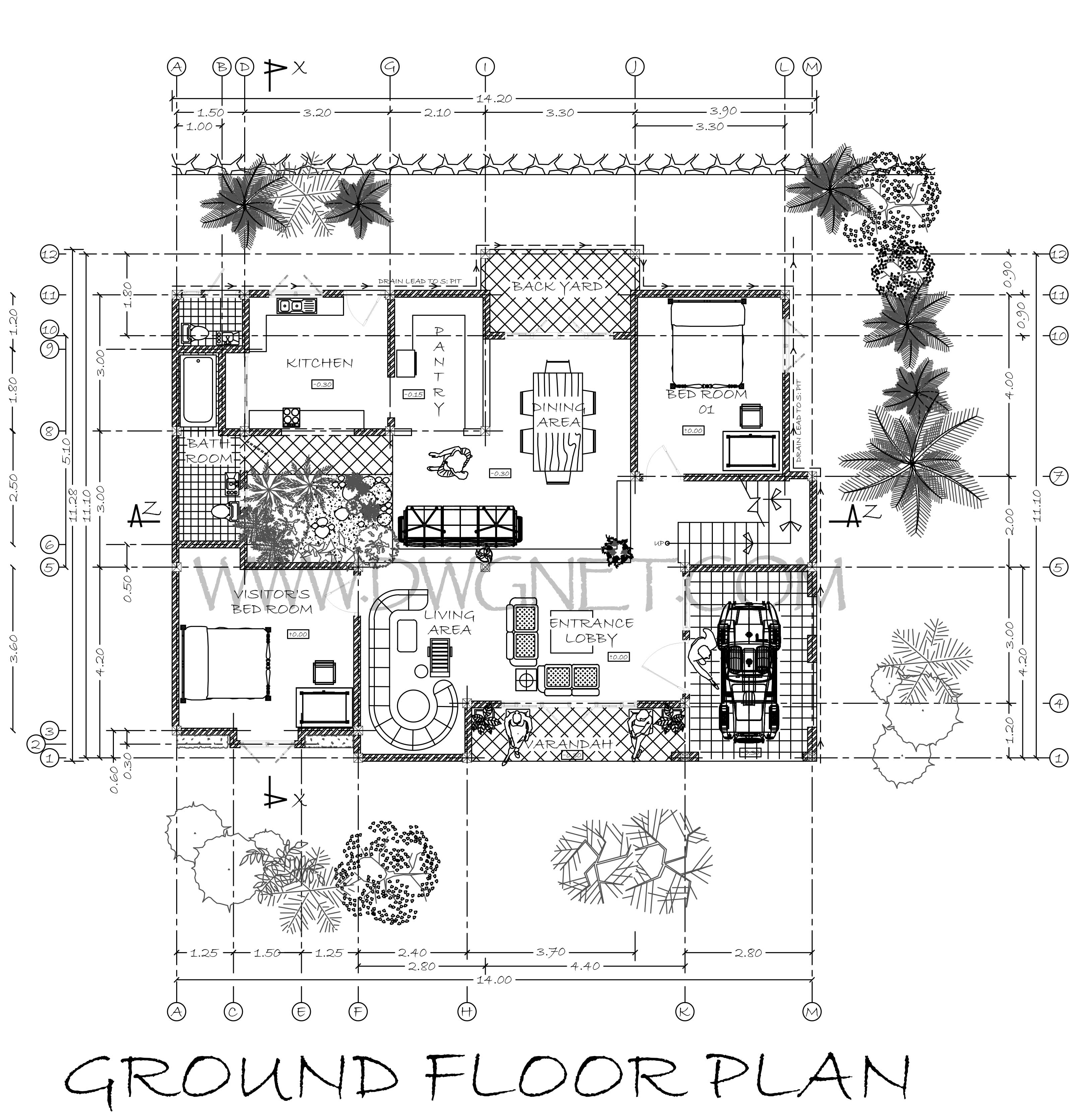 Double Story Four Bed Room Small House Plan Free Download