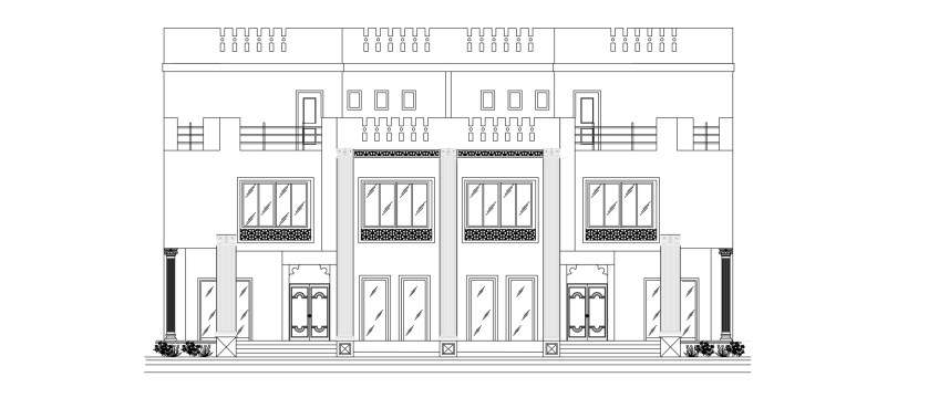 Ground Floor Side Elevation : Twin villa floor plan with side elevation free download
