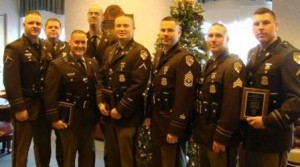 Top DUI troopers of Maryland State Police Prince Frederick for 2013: Pictured L to R:   TFC David Saucerman, Corporal S. VanBennekum, Trooper Shawn Matthews, TFC Brian Wiesemann, TFC Justin Oles, F/Sergeant Shane Bolger, Sergeant James Barth and TFC Christopher Esnes