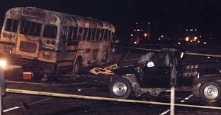Twenty-seven of 67 people on board a Radcliff Assembly of God bus died in a fiery crash after a drunken driver hit the bus on Interstate 71 in Carroll County on May 14, 1988.  AP