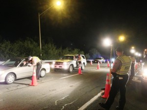Fairfax County Police in Virginia conduct a sobriety checkpoint.