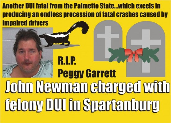 John Newman felony DUI in death of Peggy Garrett Spartanburg SC